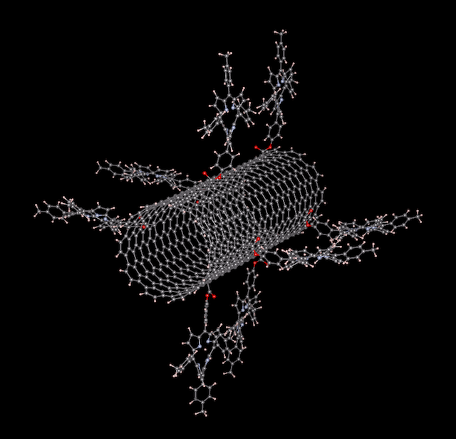 Carbon nanotube with porphyrin groups